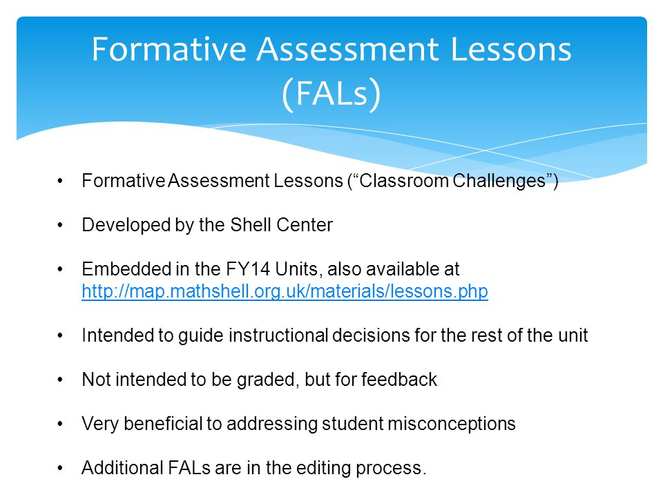 Formative Assessment Lessons (FALs)