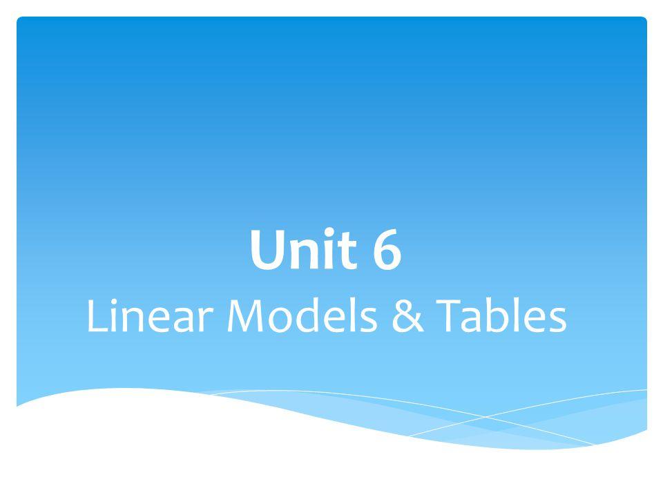 Unit 6 Linear Models & Tables