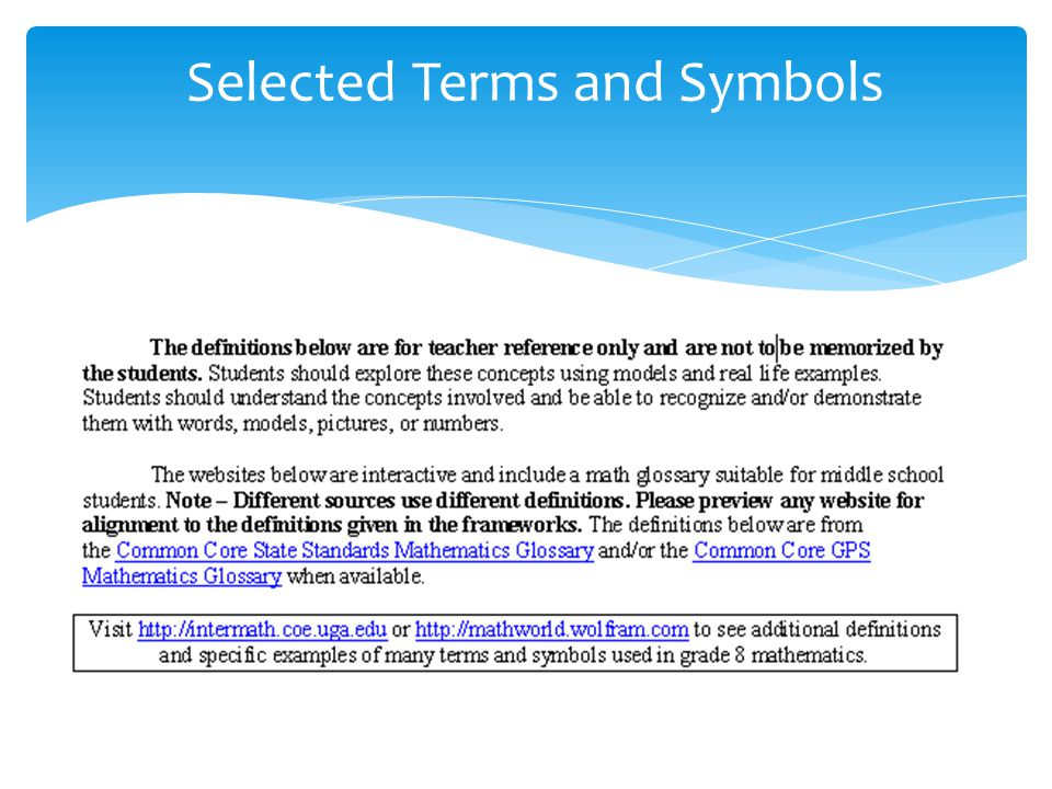 Selected Terms and Symbols