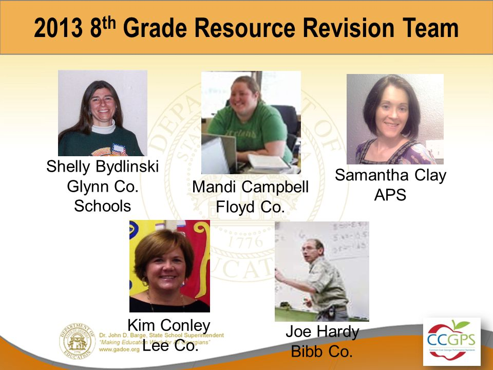 2013 8th Grade Resource Revision Team