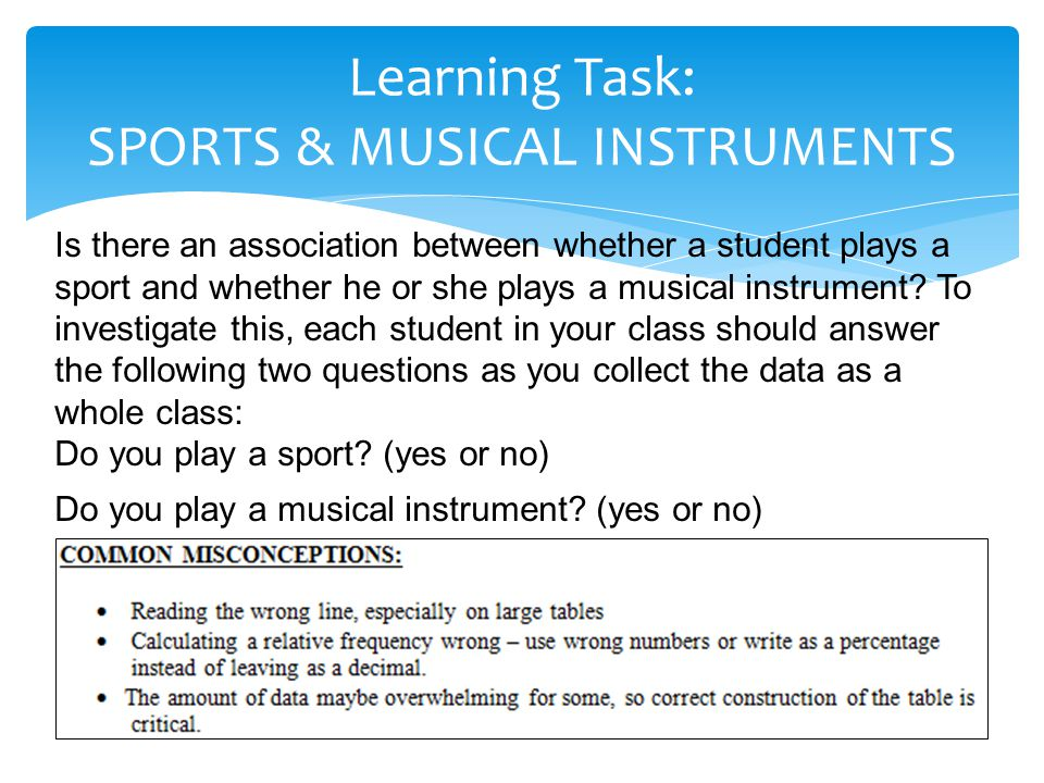Learning Task: SPORTS & MUSICAL INSTRUMENTS