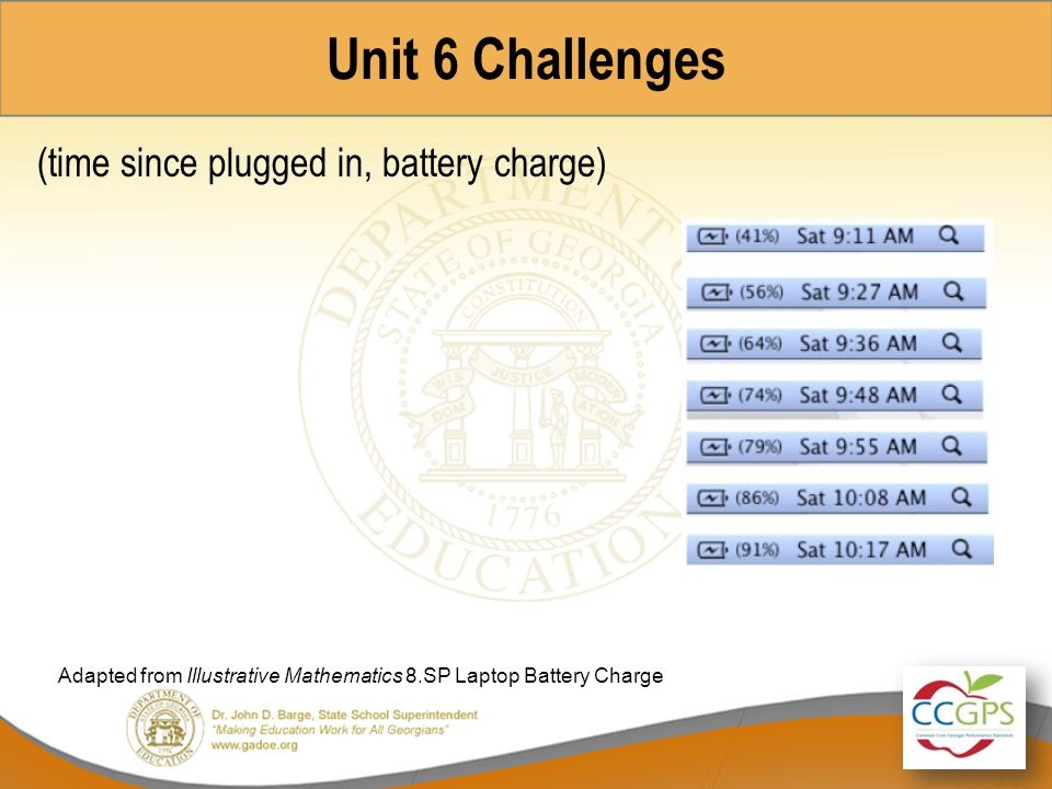 Unit 6 Challenges (time since plugged in, battery charge)