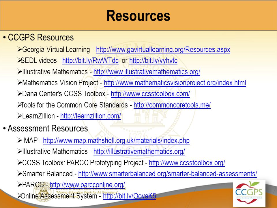 Resources CCGPS Resources Assessment Resources