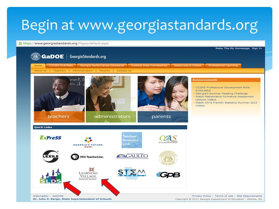 Begin at www.georgiastandards.org