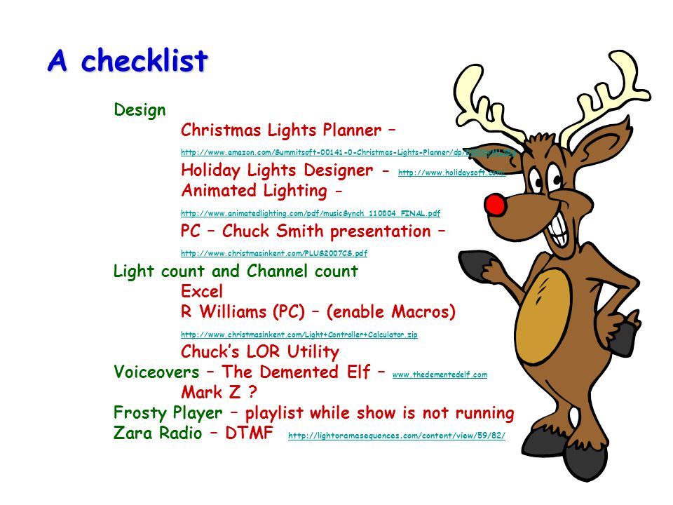 A checklist. Design. Christmas Lights Planner –. http://www. amazon