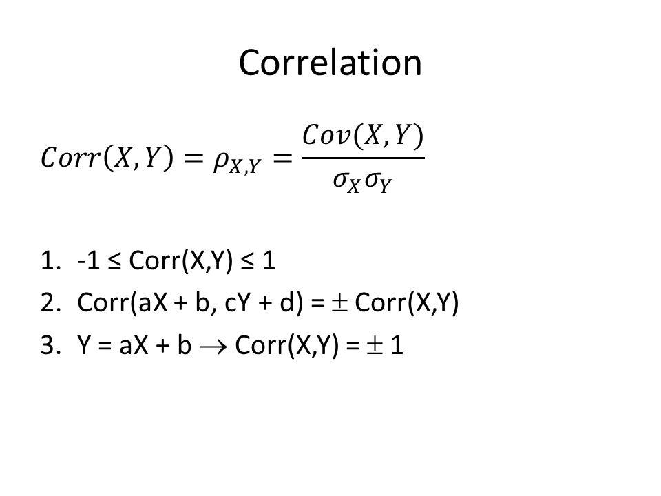 Correlation 𝐶𝑜𝑟𝑟 𝑋,𝑌 = 𝜌 𝑋,𝑌 = 𝐶𝑜𝑣(𝑋,𝑌) 𝜎 𝑋 𝜎 𝑌 -1 ≤ Corr(X,Y) ≤ 1