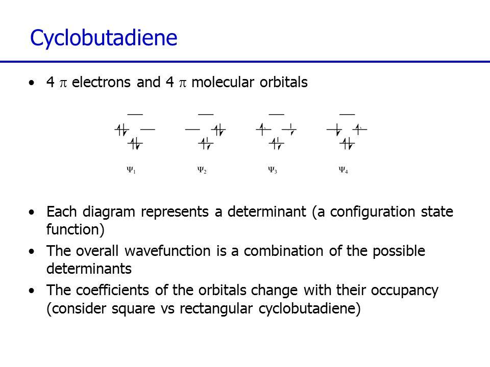 Cyclobutadiene 4 p electrons and 4 p molecular orbitals