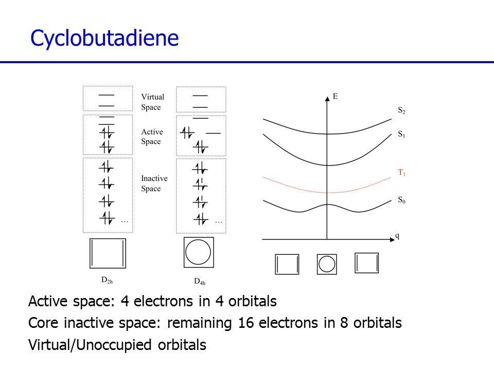 Cyclobutadiene Active space: 4 electrons in 4 orbitals Core inactive space: remaining 16 electrons in 8 orbitals Virtual/Unoccupied orbitals