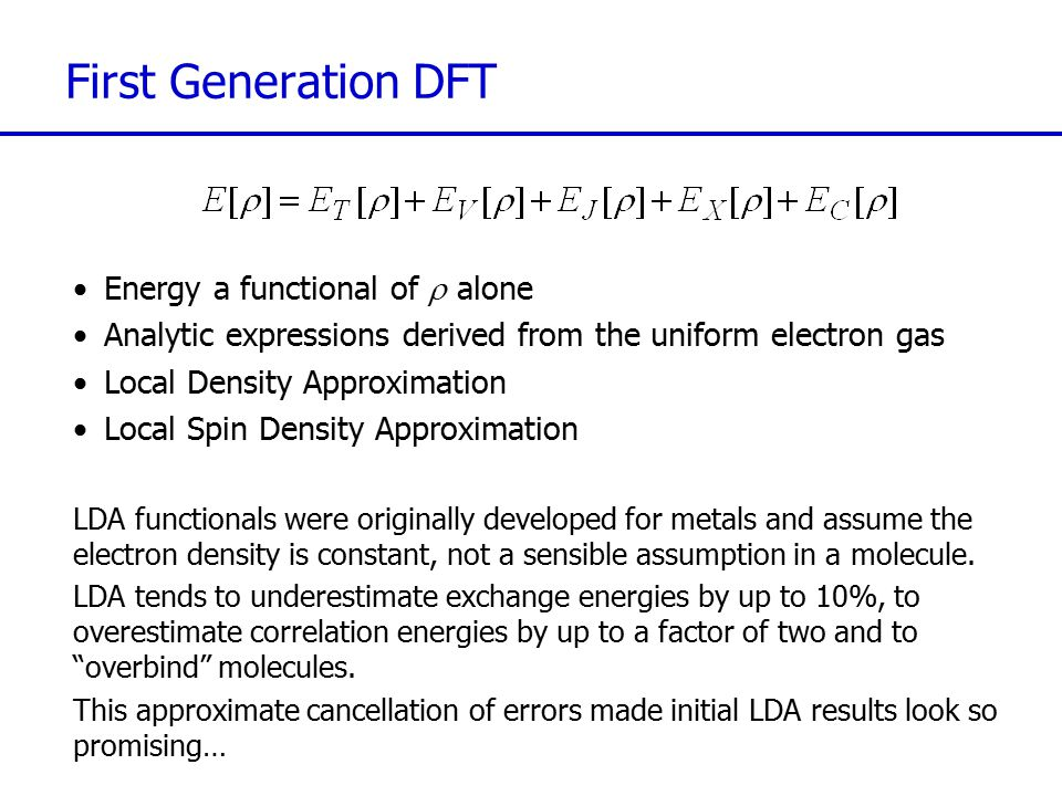 First Generation DFT Energy a functional of r alone