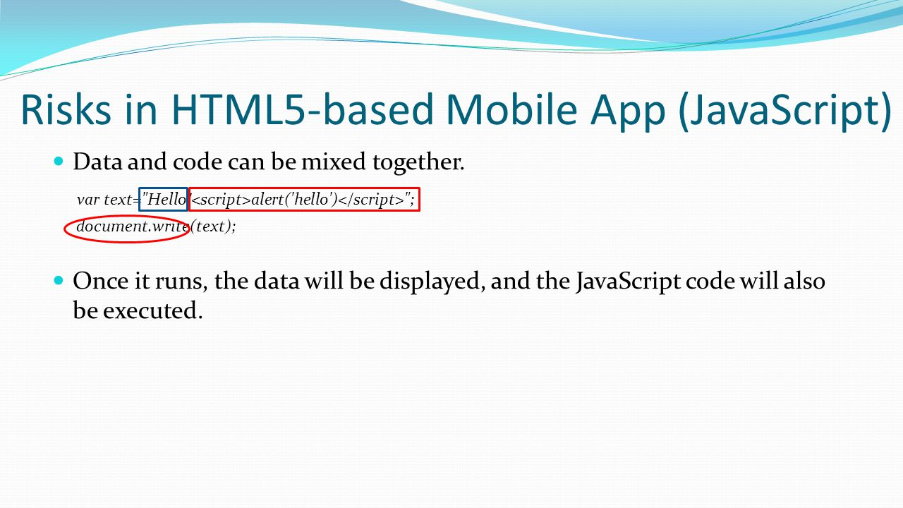Risks in HTML5-based Mobile App (JavaScript)