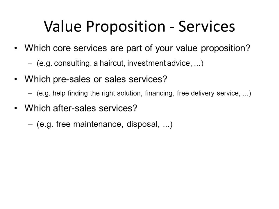 Value Proposition - Services