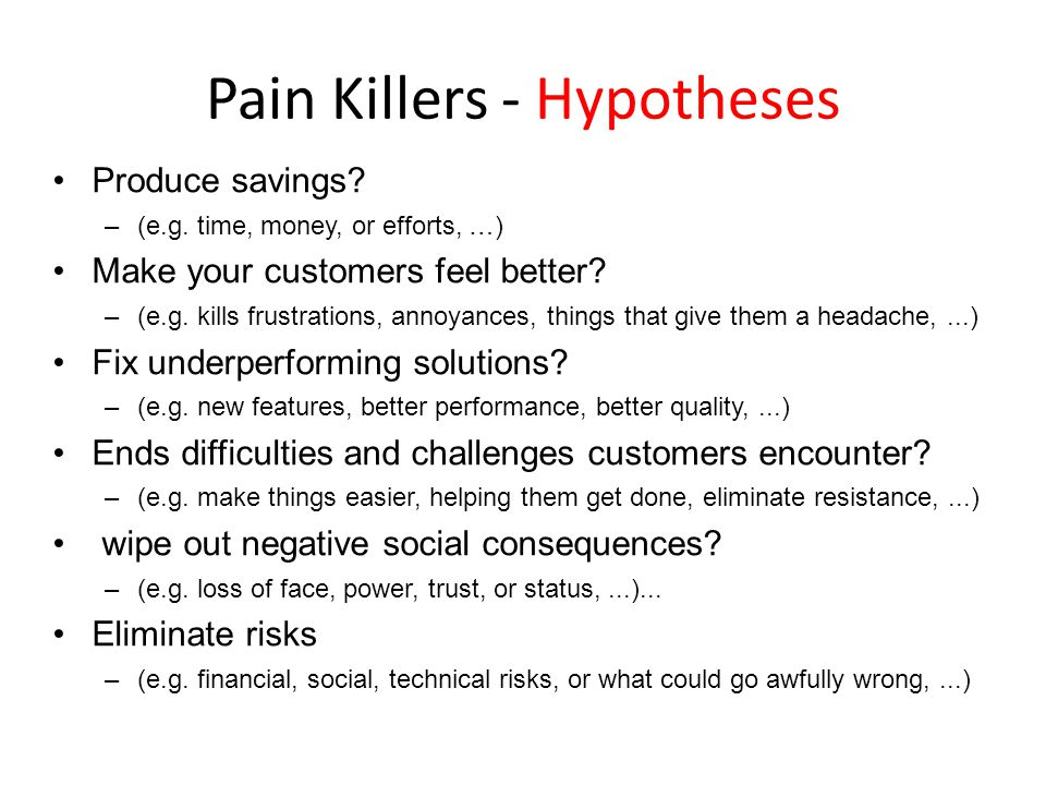 Pain Killers - Hypotheses