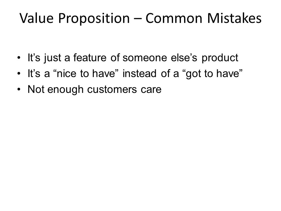 Value Proposition – Common Mistakes
