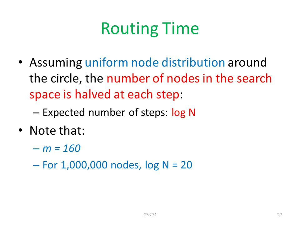 Routing Time Assuming uniform node distribution around the circle, the number of nodes in the search space is halved at each step: