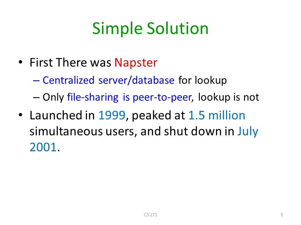 Simple Solution First There was Napster