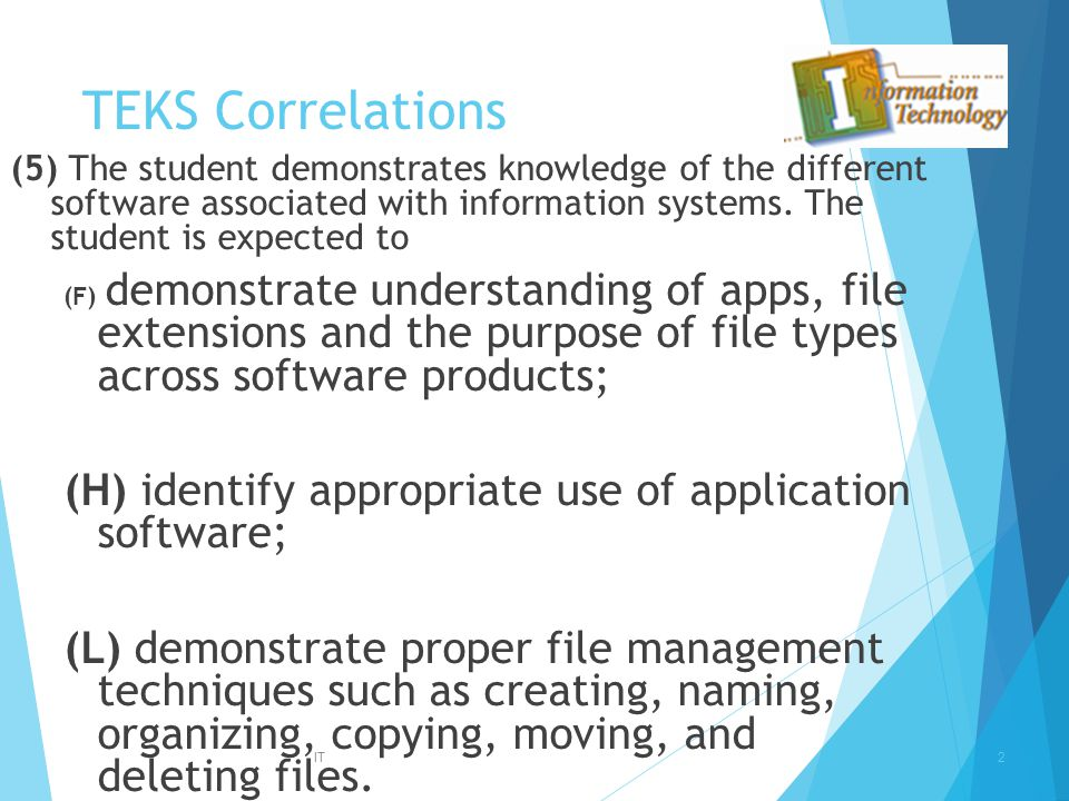 TEKS Correlations (5) The student demonstrates knowledge of the different software associated with information systems. The student is expected to.