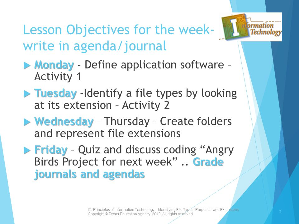 Lesson Objectives for the week- write in agenda/journal