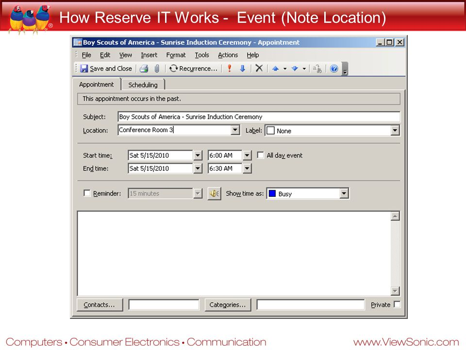 How Reserve IT Works - Event (Note Location)