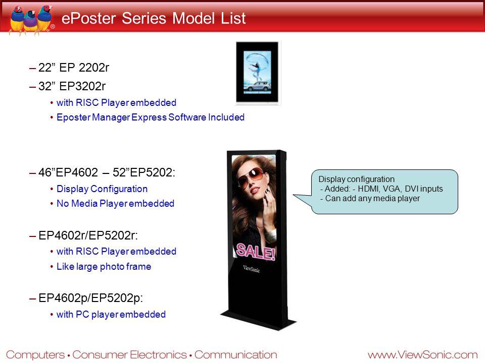 ePoster Series Model List