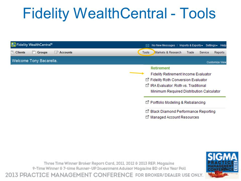 Fidelity WealthCentral - Tools