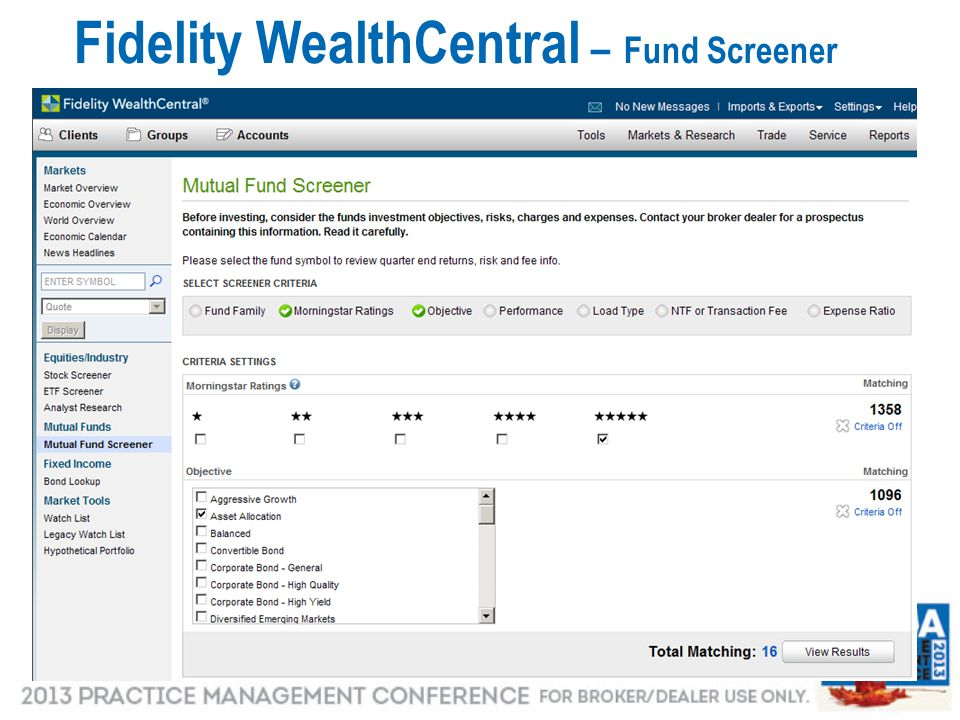 Fidelity WealthCentral – Fund Screener