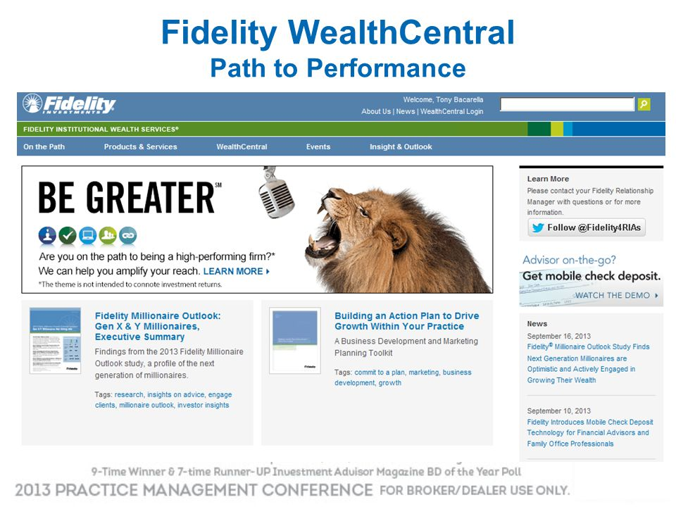 Fidelity WealthCentral Path to Performance
