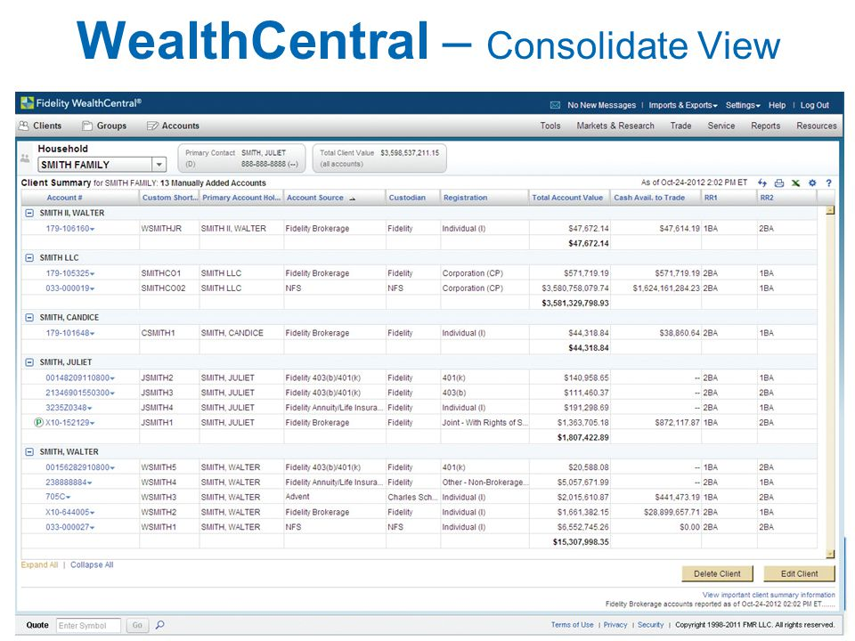 WealthCentral – Consolidate View