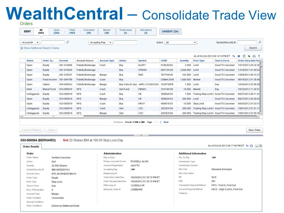 WealthCentral – Consolidate Trade View