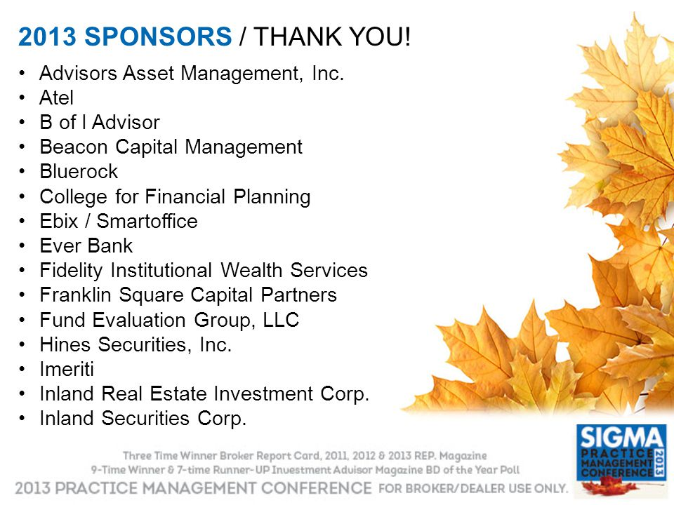 2013 SPONSORS / THANK YOU! Advisors Asset Management, Inc. Atel
