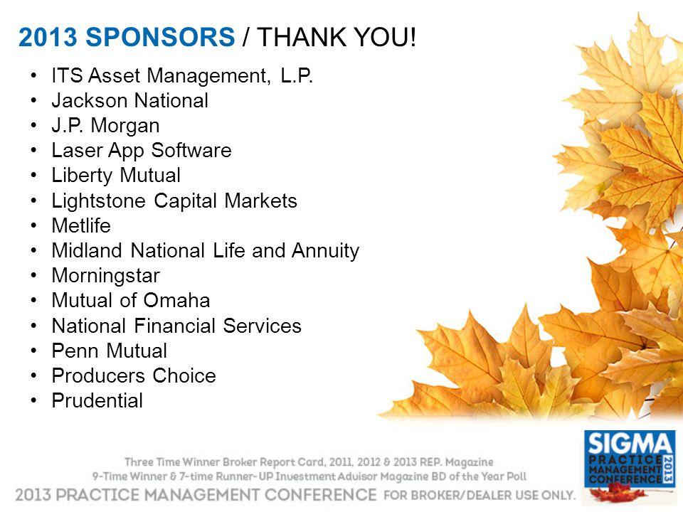 2013 SPONSORS / THANK YOU! ITS Asset Management, L.P. Jackson National