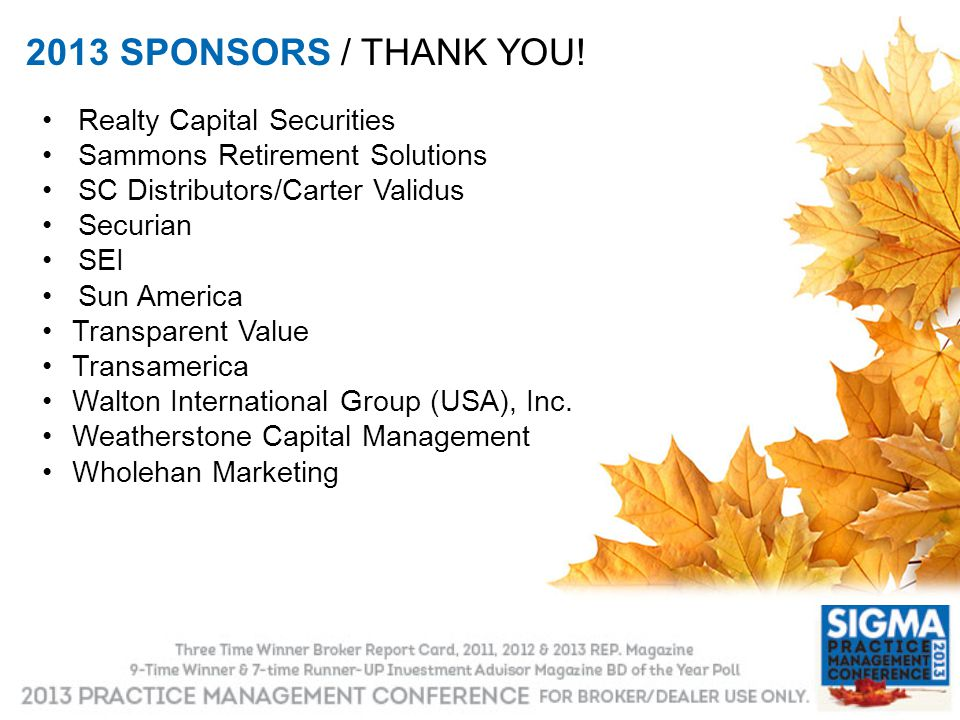 2013 SPONSORS / THANK YOU! Realty Capital Securities