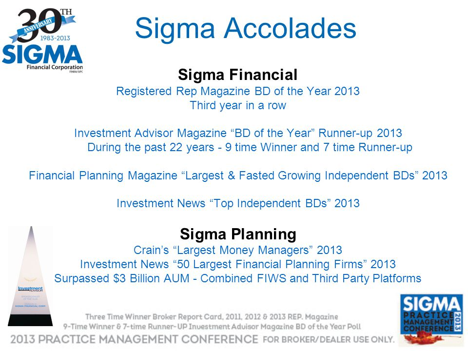 Sigma Accolades Sigma Financial Sigma Planning