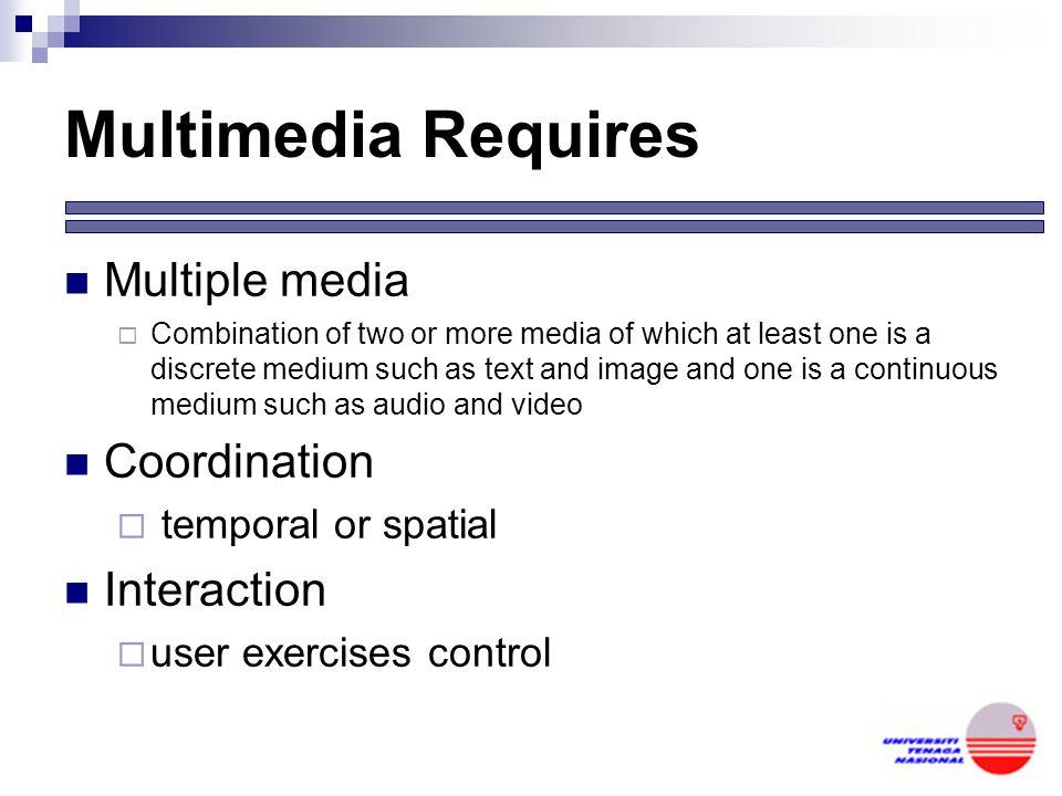 Multimedia Requires Multiple media Coordination Interaction