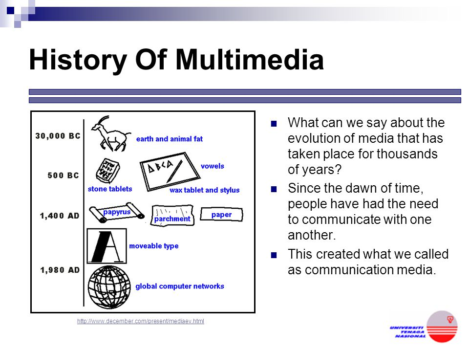 History Of Multimedia What can we say about the evolution of media that has taken place for thousands of years