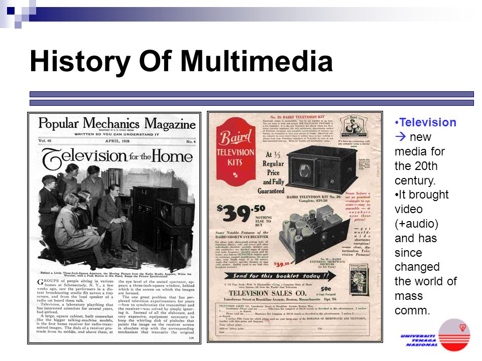 History Of Multimedia Television  new media for the 20th century.