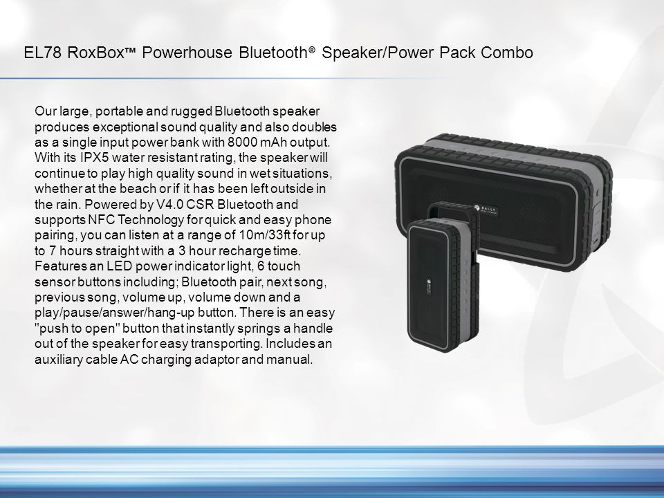 EL78 RoxBox™ Powerhouse Bluetooth® Speaker/Power Pack Combo