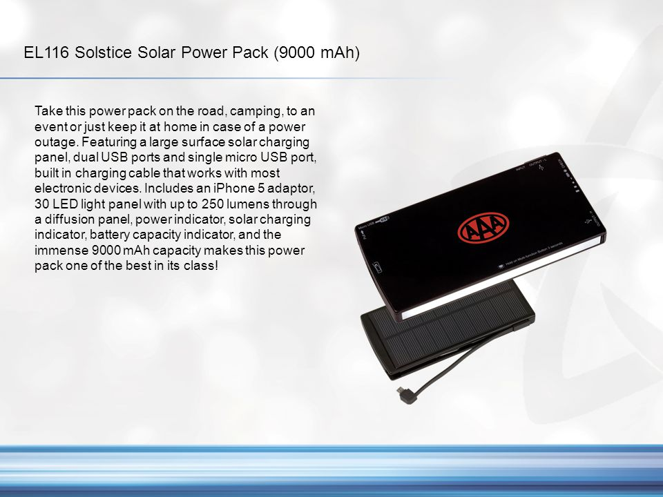 EL116 Solstice Solar Power Pack (9000 mAh)