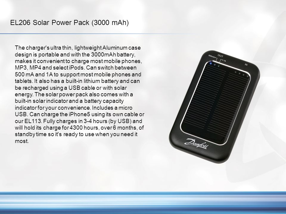 EL206 Solar Power Pack (3000 mAh)