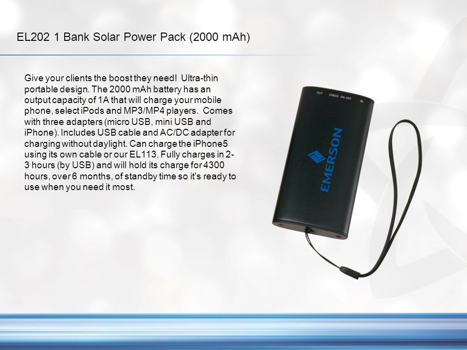 EL202 1 Bank Solar Power Pack (2000 mAh)