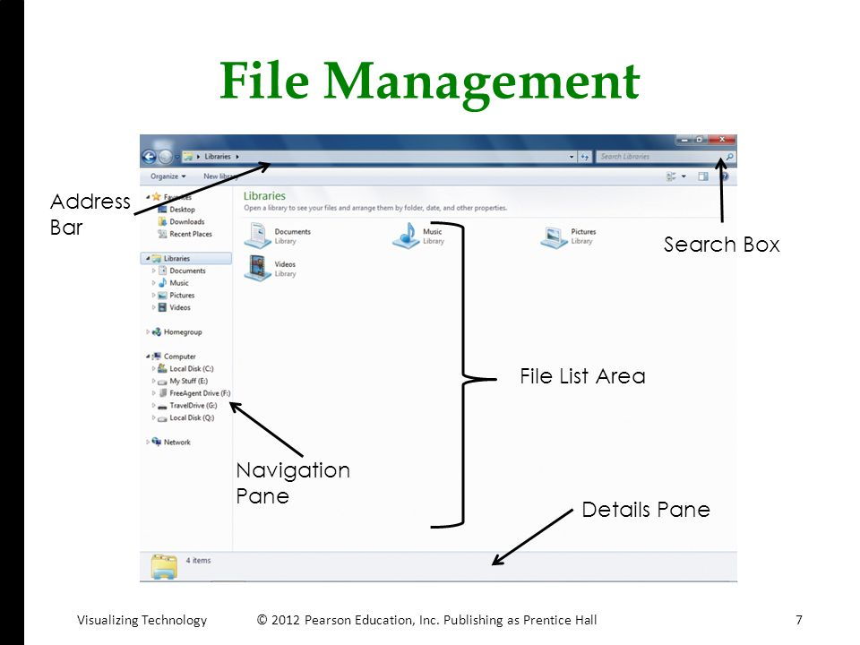 File Management Address Bar Search Box File List Area Navigation Pane