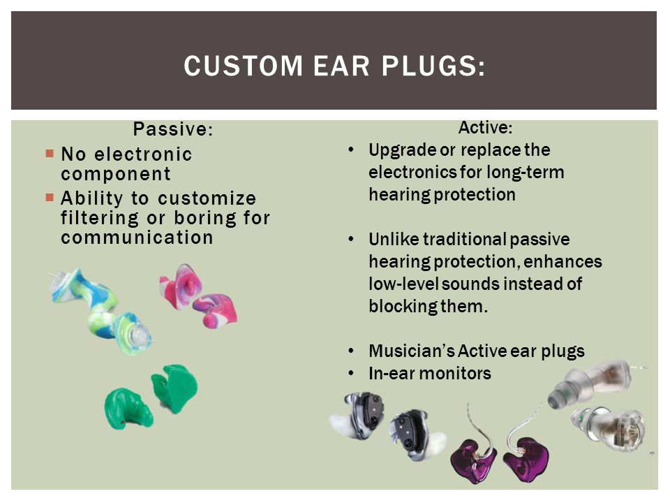 Custom Ear Plugs: Passive: No electronic component