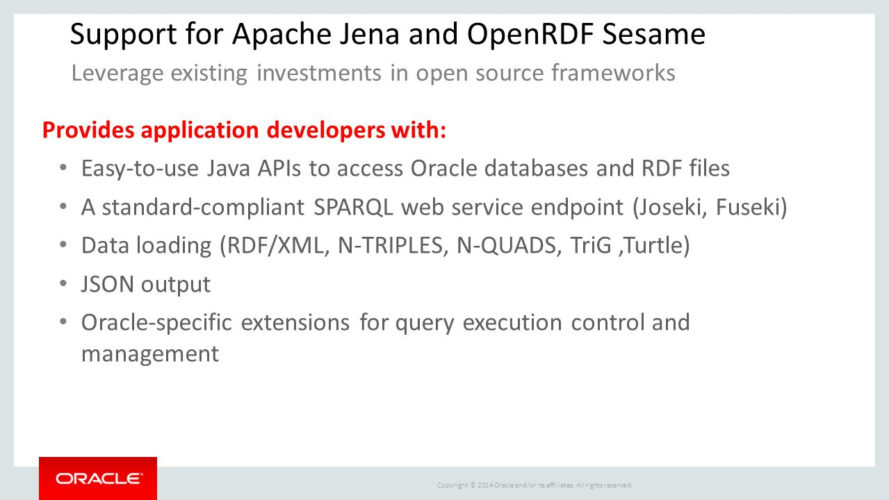 Support for Apache Jena and OpenRDF Sesame