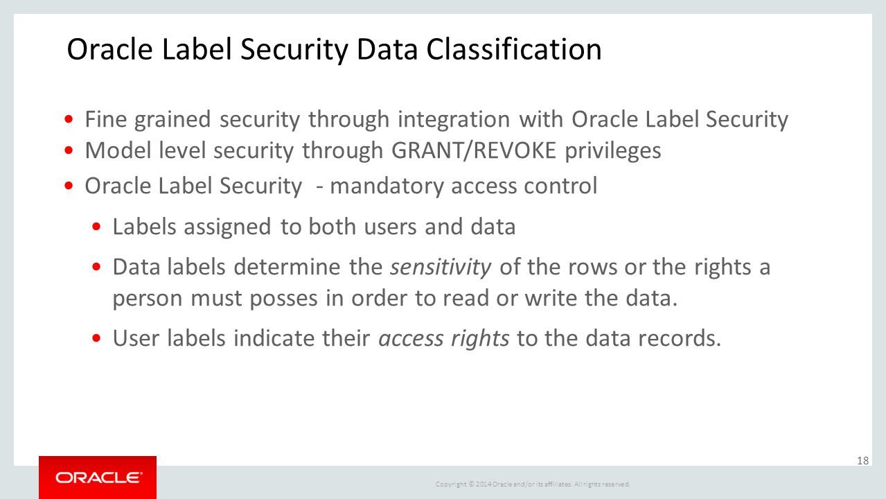 Oracle Label Security Data Classification