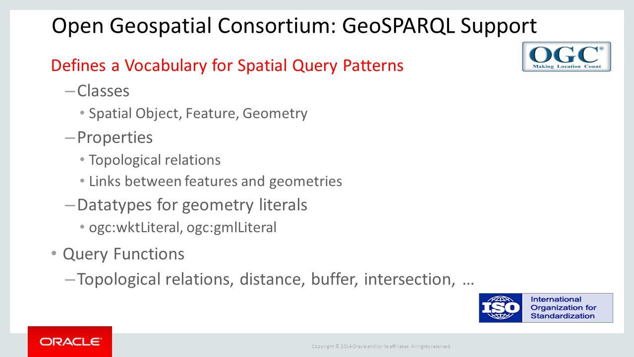 Open Geospatial Consortium: GeoSPARQL Support