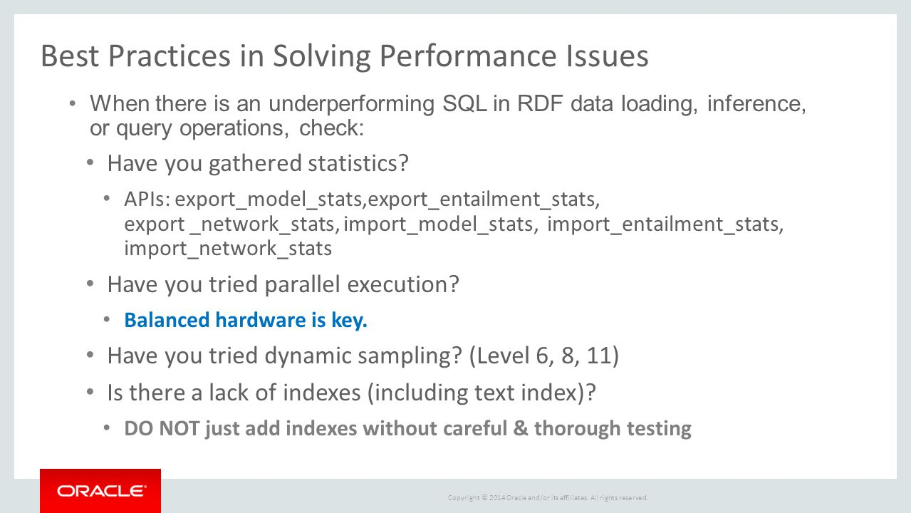 Best Practices in Solving Performance Issues