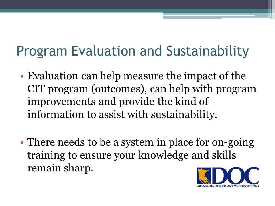 Program Evaluation and Sustainability