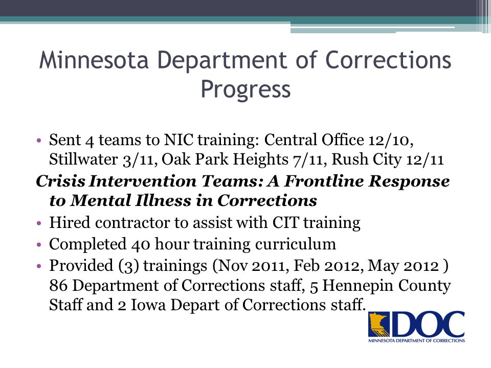 Minnesota Department of Corrections Progress