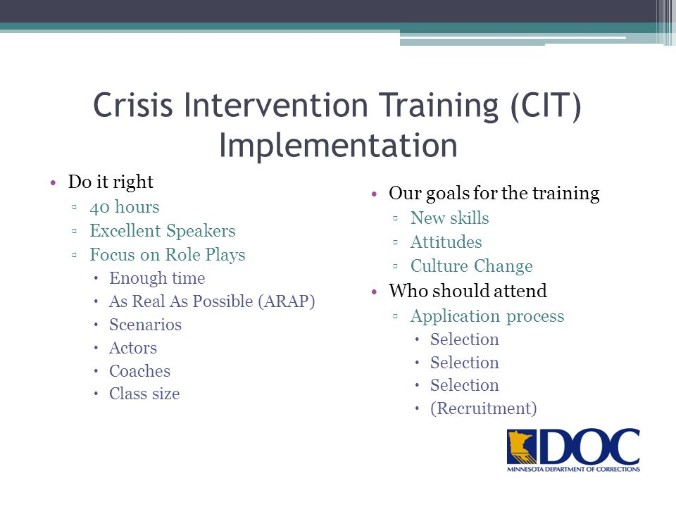 Crisis Intervention Training (CIT) Implementation