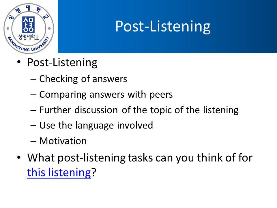 Post-Listening Post-Listening