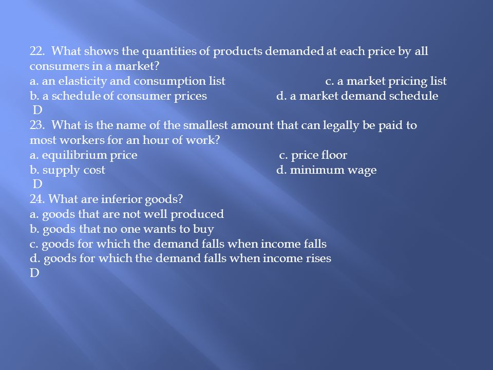22. What shows the quantities of products demanded at each price by all consumers in a market
